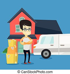 Man moving to house vector illustration. - Asian homeowner...