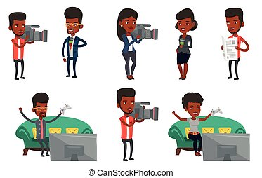 Vector set of media people characters. - Young...