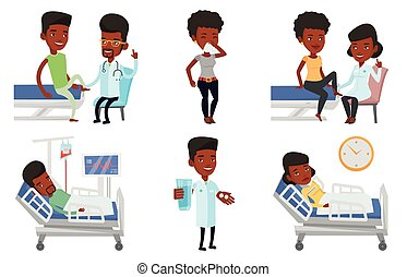Vector set of doctor characters and patients. - Gym doctor...