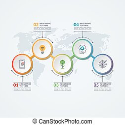 Infographic timeline design template of 5 circular elements...