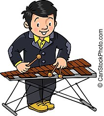 Funny musician or xylophone player