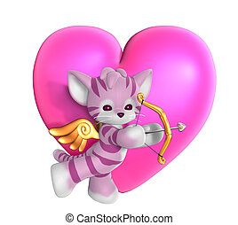 Cupid Kitty with Heart 2 - 3D render of a Cupid Kitty in...