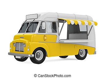 Yellow Food Truck Isolated - Yellow Food Truck isolated on...