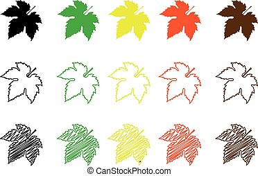 Fig leaf  color set - Fig leaf - color set, fig leaf,