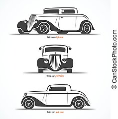Set of hot rod or vintage custom sports car silhouettes. Vector illustration