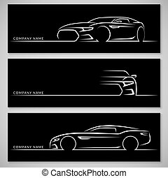 Modern sports car silhouettes. Vector background - Modern...
