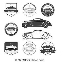 Set of hot rod car labels, emblems, logos