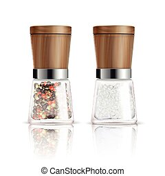Salt And Pepper Mill Composition - Two isolated realistic...