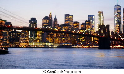 Defocused view New-York City downtown from Brooklyn -...