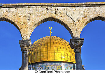 Dome of the Rock Islamic Mosque Temple Mount Jerusalem...