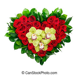 Heart shaped bouquet of red roses and orchids