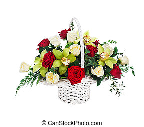 Basket of red and white roses and orchids