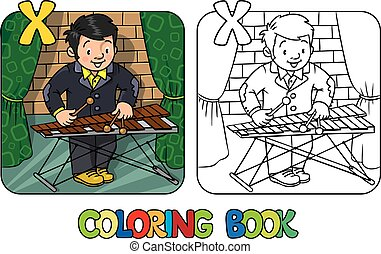 Funny musician or xylophone player. Coloring book