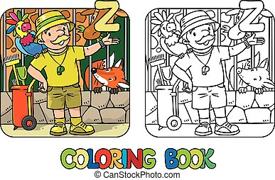 Zoo keeper coloring book Profession ABC Alphabet Z -...