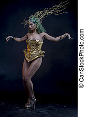 Empire, Latin woman with green hair and gold costume with...