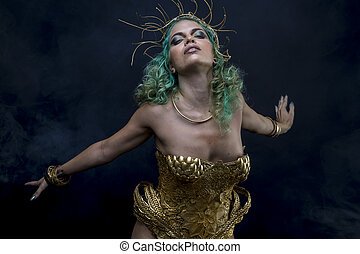 Priestess Latin woman with green hair and gold costume with...
