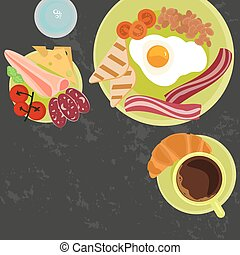 breakfast with cup of coffe