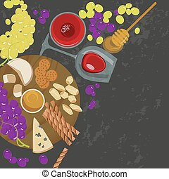 grapes, honey, cheese with glass of wine - Grapes, honey,...