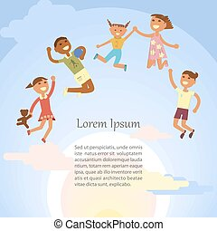 Children are jumping