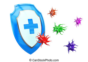 Antibacterial or anti virus shield, health protect concept....