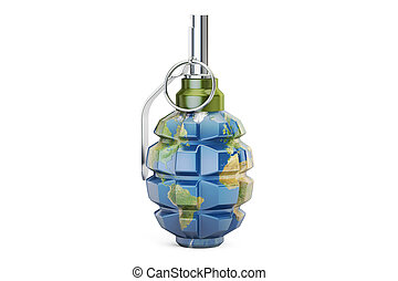 Earth grenade, 3D rendering isolated on white background