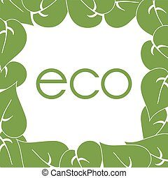 frame of green leaves around labels eco - frame of green...