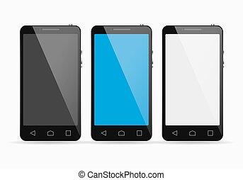 Smartphone set on white background. Vector illustration. -...