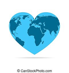 Heart with earth map. Vector illustration