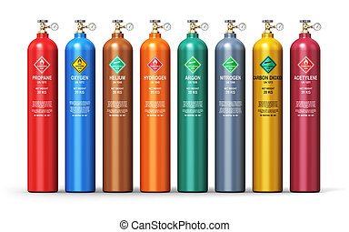 Set of different industrial liquefied gas containers