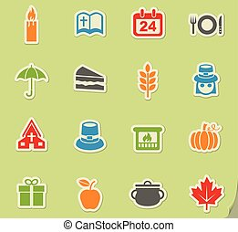 thanksgiving day icon set - thanksgiving day web icons for...