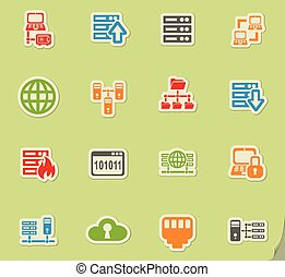 Internet, server, network icons set - Internet, server,...