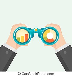 Hand and Binocular, Business vision concept. Vector...