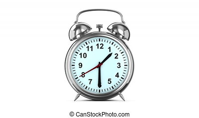 Alarm clock on white background. Isolated 3D render