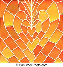 abstract vector stained-glass mosaic background - orange and...