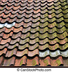 Old tiled roof. - Old tiled roof in Bremen, Germany.