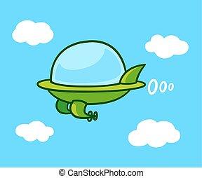 Cartoon flying car - Cute cartoon futuristic flying car in...