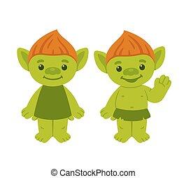 Cute cartoon troll couple - Cute cartoon troll or goblin...