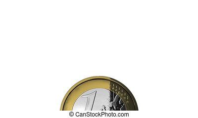 Throwing one euro coin - Money concept