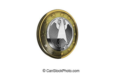 Rotating one euro coin - money concept