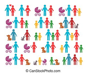 Vector family infographic icons - Simple vector family...