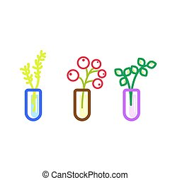 Flowers in glass flasks vector icons.