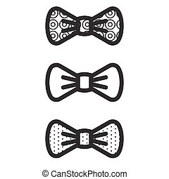 Bow-tie vector black icons.