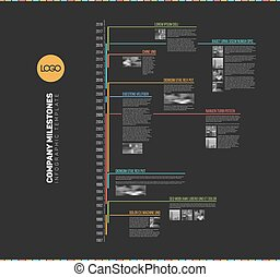 Vector Infographic multi timeline report template with the...