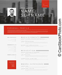 Minimalistic cv / resume template with header photo - Vector...