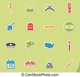 Veterans Day simply icons - Veterans Day simply symbols for...
