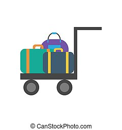 Luggage trolley illustration on the white background. Vector...