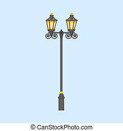 Street light illustration on a blue background. Vector...