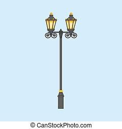 Street light illustration on a blue background. Vector...