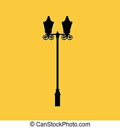 Street light silhouette on a yellow background. Vector...