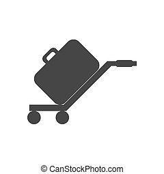 Luggage trolley silhouette on the white background. Vector...